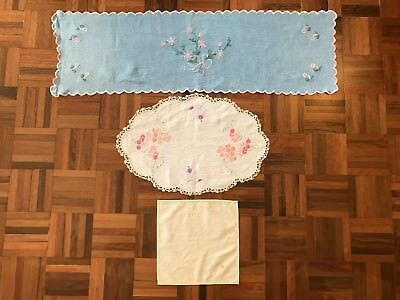 Lot 3 vintage embroidery lace table cloth runner doilies craft feminine