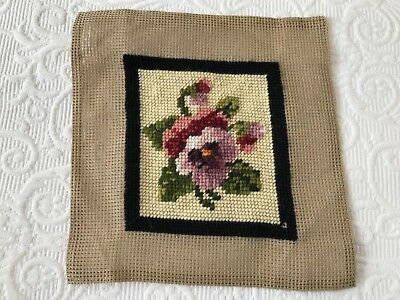 Vintage 99% completed floral pansy tapestry needlepoint purple pink cream