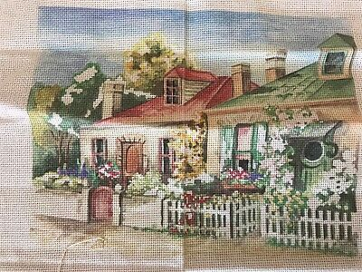 Vintage Cross stitch cloth Australia Victorian Tasmanian dormer cottage garden