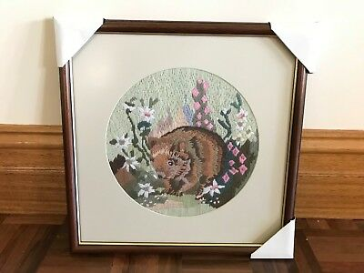 Vintage framed Australian native flora & fauna wildlife long stitch wombat