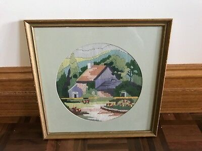 Vintage framed finished long stitch captain cook's cottage house garden