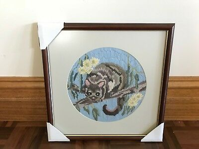Vintage framed Australian native flora & fauna wildlife long stitch possum