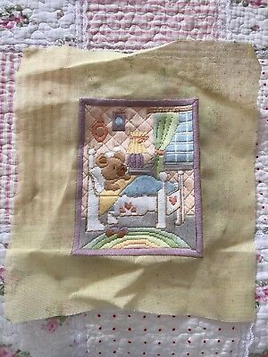 Vintage complete soft pastel long stitch tapestry teddy bear in bed baby room