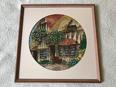 Vintage framed long stitch embroidery english country cottage garden roses