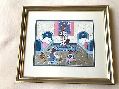 Vintage Framed long stitch peter pan wendy children nursery night sky moon