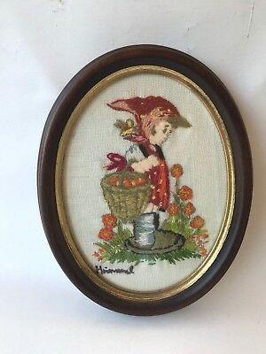 Vintage Retro framed Hummel Goebel needlepoint tapestry girl w basket flowers