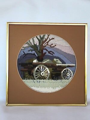 Vintage retro framed long stitch tapestry bullock wagon tree country scene