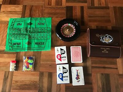 Vintage Retro leather case roulette wheel giraffe playing cards & spot dice set