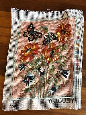 Vintage retro August completed tapestry poppy floral butterfly bluebell flowers