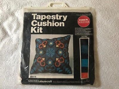 Vintage Retro Sirdar leisurecraft tapestry cushion kit blue orange UK made