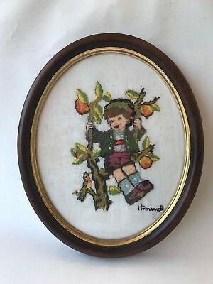 Vintage Retro framed Hummel Goebel needlepoint stitch tapestry apple boy tree