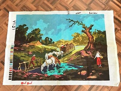 Vintage unused v large stiff printed embroidery canvas farm scene horses arabic
