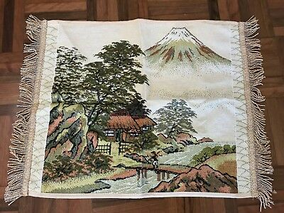 Vintage Retro mount fuji village scene machine tapestry fringed runner wall hang