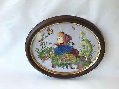 Vintage Retro framed Hummel Goebel needlepoint stitch tapestry boy with bird