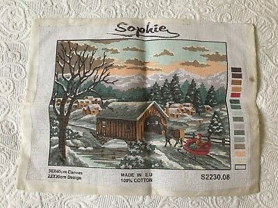 Vintage unused Sophie tapestry needlepoint canvas winter snow horse sleigh