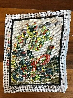Vintage retro September completed tapestry pheasant in tree garden colourful