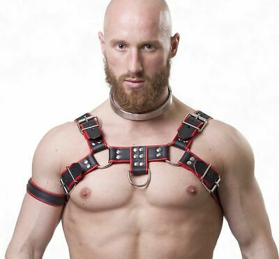 Brust Harness Rindsleder schwarz-rot PARUS leather gay Muscle NEU