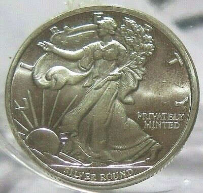 WALKING LIBERTY: 1/2 Troy Oz .999 FINE SOLID SILVER ART-ROUND (new)