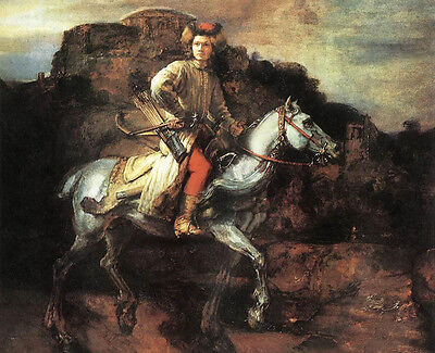 Huge Oil painting Rembrandt Netherlands - The Polish Rider Young Horseman canvas
