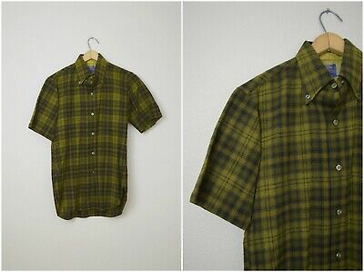 eb5dcfd5e0 vintage 60s olive green mustard yellow Pendleton plaid wool short sleeve  oxford