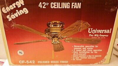 "42"" inch Vintage Wood Blades Antique Ceiling Fan, polished brass finish, designs"