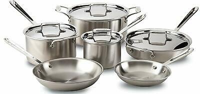 All-Clad BD005710-R D5 Brushed 18/10 Stainless Steel 5-Ply Bonded 10-Piece