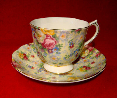 Royal Albert Cup & Saucer Chintz Floral Roses Gold Trim Made In England