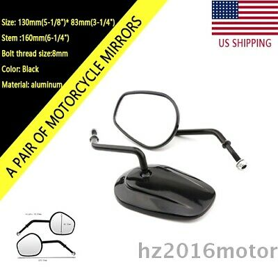 BLACK TAPERED MOTORCYCLE SIDE MIRRORS FOR HARLEY TOURING ROAD GLIDE 1998-2017