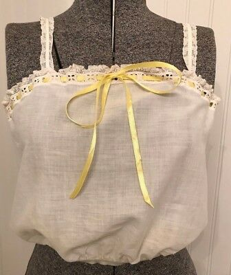 vintage camisole, lace, yellow ribbon Bust 34,  1950's Victorian