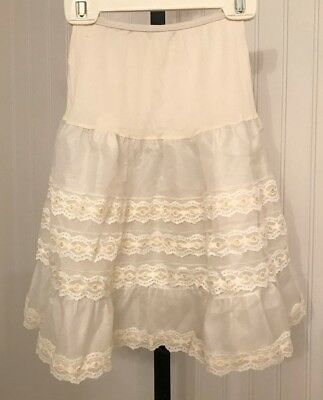vintage 1950's girl's petticoat crinoline, lace with yellow ribbon running thru