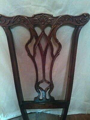 Vintage Antique Reproduction Chippendale Carved Dining Chair Back
