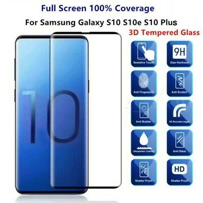 3D Curved Tempered Glass Screen Protector For Samsung Galaxy S10e S10 Plus /MY