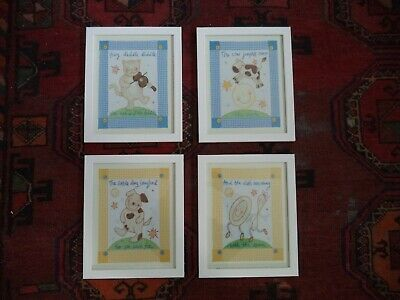 Nursery Rhyme Wood Framed Pictures Hey Diddle Diddle Set of 4 Unisex Wall Art