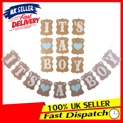 Baby Shower Decoration Party Garland Rustic Banner GIRL BOY Personalised Bunting