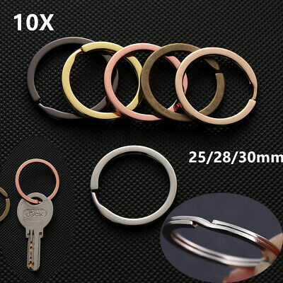 10Pcs 25mm~30mm Stainless Steel Hole Key Ring Rhodium Plated Round Split Rings