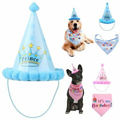 Pet Cat Dog Happy Birthday Party Crown Hat Puppy Bib Collar Cap Costume BEST
