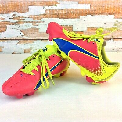 eff221d24a69 PUMA Adreno FG Big Girls Youth Soccer Cleats Size 4 M Pink Yellow Lace Ups