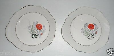 Vintage Colclough England 2 Fine Bone China Snack Plates Tray Orange Floral