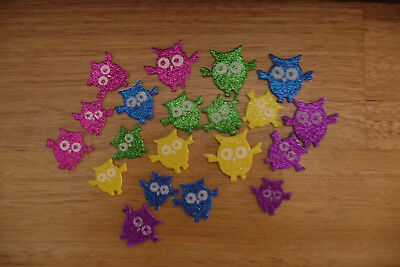 20 x Glitter Foam Owl Stickers ~ 20mm - 50mm ~ Various Colours