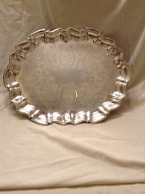 Vintage Leonard Silver Plate Chippendale Footed Hors d'oeuvers Serving Tray