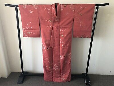 Japanese Vintage Red Woven Silk Kimono Robe Authentic Costume Jacket Coat Birds
