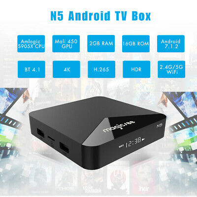 MAGICSEE N5 Android 7.1.2 TV BOX 2+16GB 2.4G/ 5G Dual WiFi 100Mbps H.265 Black