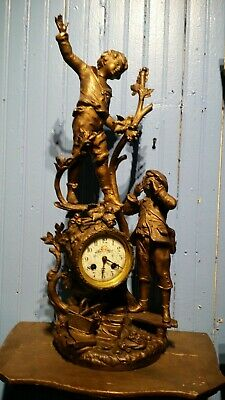 19thC Antique FRENCH , JAPY FRERES Figural MANTLE CLOCK