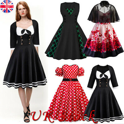Plus Size Womens Vintage Style 1950s 60s Rockabilly Holiday Party Swing Dresses