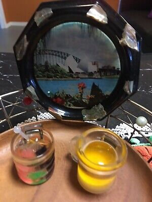 Vintage Crystal  Craft. Of Sydney Harbour Bridge And Two  Resin  Magnets
