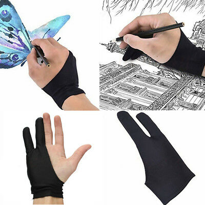 Two Finger Anti-fouling Glove Drawing & Pen Graphic Tablet Pad Fit Artist Black