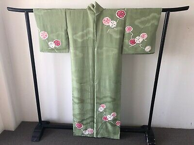 Japanese Vintage Green Silk Kimono Robe Authentic Costume Jacket Coat Art Deco