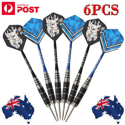 6PCS of Steel Tip Darts Stainless Barrel with Aluminium Dart shafts Flights AU