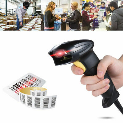 Laser Barcode Scanner USB Handheld Automatic Bar Code Reader Scan POS With Stand