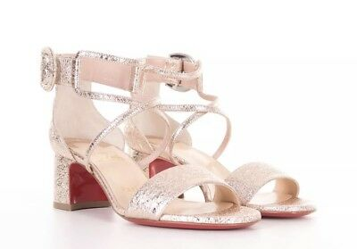 9880592ddc44 CHRISTIAN LOUBOUTIN 895  Choca 55 Sandals In Rose Gold Specchio Vintage
